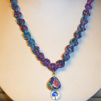 Purple Haze Hemp Necklace with Fimo Glass Mushroom handmade macrame jewelry  womens  girls hippie  unisex
