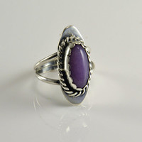 Sterling Lavendar Sugilite Ring - Native American Craftsmanship - Size 6.5 - Signed MW  -  Marqueta McCray - Navajo