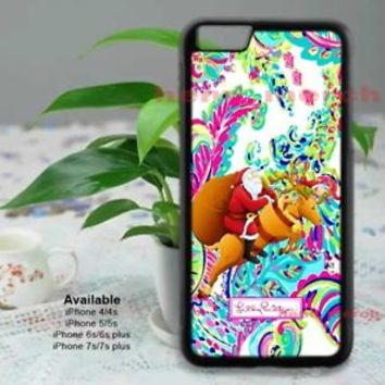 Lilly Pulitzer Christmas Santa For iPhone 8 8+ 7 7+ 6 6+ 6s 6s+5 5s Samsung Case
