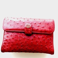 Red Gucci Ostrich bag-stunning! Vintage