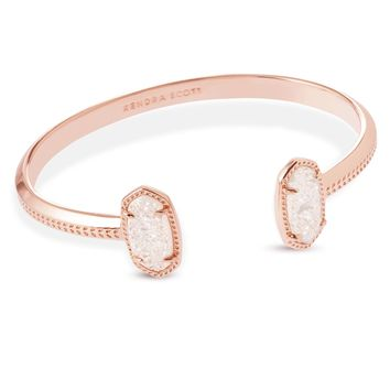 Elton Rose Gold Pinch Cuff Bracelet in Drusy | Kendra Scott