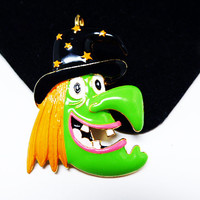 Enamel Witch Brooch /Pendant - Glenda the Green Witch - Signed F.L. - Modern Halloween Collectible - Fall Novelty Jewelry - Whimsical Scary