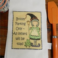 Funny Halloween Kitchen Towel Broom Parking Only All Others Will Be Toad Away