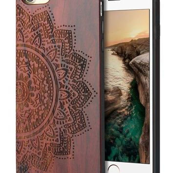 PEAPGQ6 iPhone 8 Case Sunflower,iPhone 7 Case,Natural Real Wooden Carving Pattern Slim Bumper Protective Case for iPhone 7