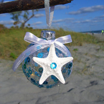 Starfish Ornament,Nautical Ornament,Beach Ornament,Beach Christmas Ornaments,Nautical Holiday,Coastal Holiday,Blue Ornaments,Starfish Decor