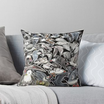 'Sea gulls for bird lovers' Throw Pillow by Chloé Yzoard