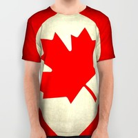 Canadian flag, vintage treated edition in square format to suit pillows, duvets, shower.....etc All Over Print Shirt by LonestarDesigns2020 - Flags Designs +