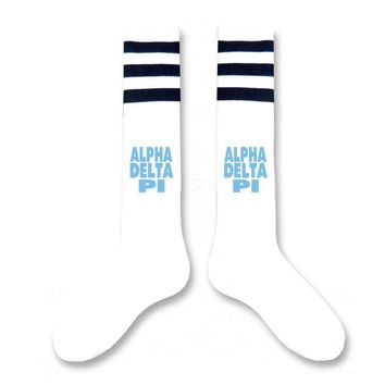 Alpha Delta Pi- Sorority Block Letter Knee High Socks