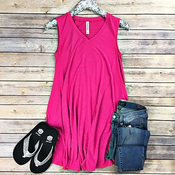 Hot Pink Sleeveless Pocket Tunic