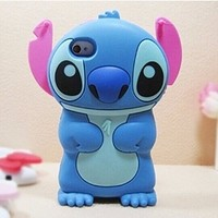 Blue 3D Stitch cute Cartoon Soft Silicone Case Cover Skin For Apple iPhone 6 4.7'