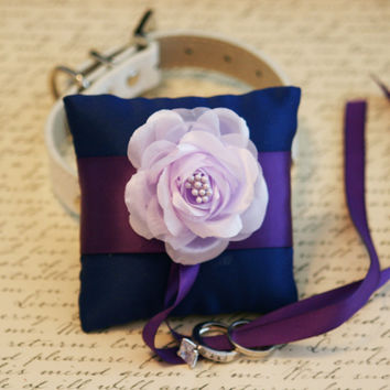 Royal Blue Ring pillow, Royal blue, Purple and Lavender wedding, Pet wedding accessory, Dog ring bearer, Dog Lovers