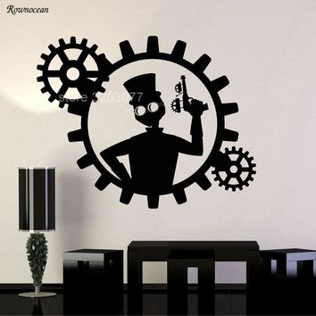 Steampunk Man Gun Gears Home Decor Vinyl Wall Stickers Room Decoration Decals Removable Self Adhesive Wallpaper Murals GU21