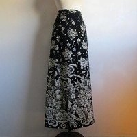 Black 90s Floral Gold Maxi Skirt Vintage Straight Long Silver Wool-Like 1990s Evening Skirt 8US