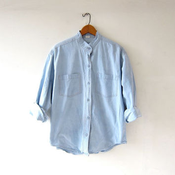 vintage washed out jean shirt. light wash denim shirt. button down shirt. collarless shirt.