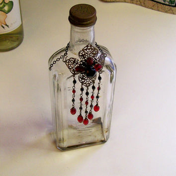 Fancy Red and Black Vintage Style Bottle Bling Wine Bottle Charm or Topper with Glass Beads and Brass Filigree
