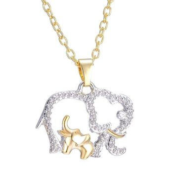 Mom and Baby Elephant Necklace   Crystal Jewelry