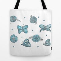 Butterfly flutterby blue Tote Bag by Beth Gilmore