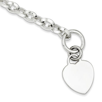 Sterling Silver 8mm Engraveable Heart Disc on Fancy Link Toggle Bracelet
