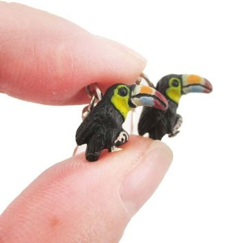 Porcelain Keel-billed Toucan Bird Shaped Ceramic Dangle Earrings | Handmade