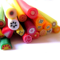SALE Assorted Fruit Polymer Clay Canes