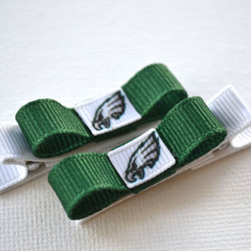 Philadelphia Eagles Hair Clips - Toddler Hair Clips - Philadelphia Eagles Bows - Philadelphia Eagles Stocking Stuffer