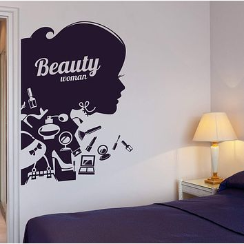 Vinyl Decal Beauty Salon Shop Woman Girl Cosmetic Makeup Wall Stickers Unique Gift (ig2647)