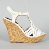 Qupid Ceduce-347 Strappy Open Toe Platform Wedge