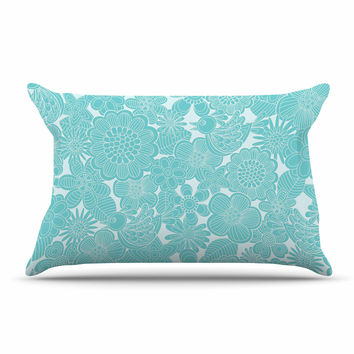 "Julia Grifol ""Turquoise Birds"" Aqua Blue Pillow Case"
