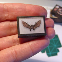 Paper miniature . BAT SHADOW BOX  - Fake taxidermy - victorian steampunk gothic - Scale 1:12