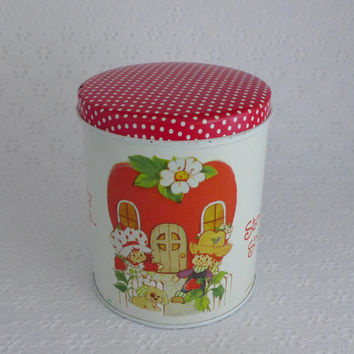 Strawberry Shortcake Tin, Red White Tin, American Greetings, Huckleberry Pie, Pupcake the Dog, Round Tin Canister