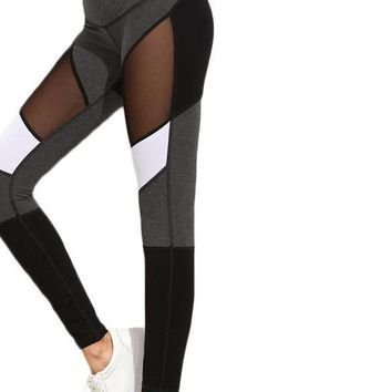Casual Leggings Women Fitness Leggings Color Block Autumn Winter Workout Pants New Arrival Mesh Insert Leggings