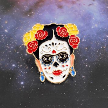 Realism Female Painter Brooch Zombie Face Crown Flower Hair Death Day Artists Badge Enamel Pin Painter Souvenir Friends Gifts