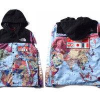 cc hcxx World Map North Face x Supreme Windbreaker