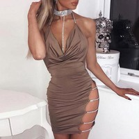 Sinched Deep-V Rhinestone Detailed Party Dress