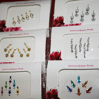 Premium - 6 Pack Bindi Collection (2 Gold, 2 Silver, 2 Colourful) Face Jewel