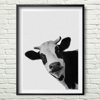 Cow Print, Cow Photo, Printable Art, Cow Art, Farm Animals, Black And White cow, Art Print, Textured, Wall Decor Art, Instant Download *56*