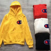 BAPE x CHAMPION PULLOVER HOODIE Embroider Big Logo Long Sleeve Sweater Yellow G -CN-CFPFGYS
