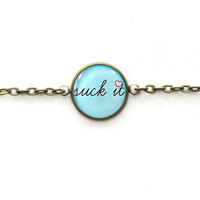 Mint Rude suck it Bracelet - Single Charm Chain Link Bracelet - Creepy Cute Pastel Goth Funny Antisocial Soft Grunge Jewelry