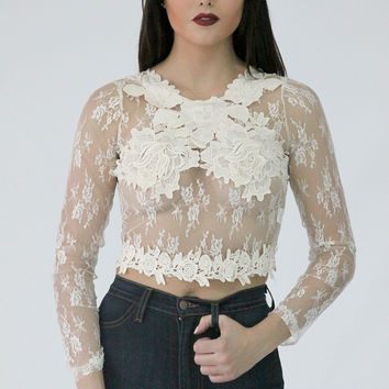 Savage Lace Top - Nude