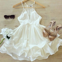 Sexy white strappy dress RUA57TK