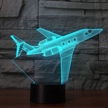 3D Illusion Night Light  LED Light 7 Color with Touch Switch USB Cable Nice Gift Home Office Decorations, Model Plane-2