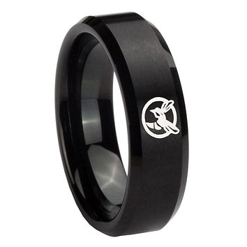 8MM Brush Black Beveled Edges Honey Bee Tungsten Laser Engraved Ring