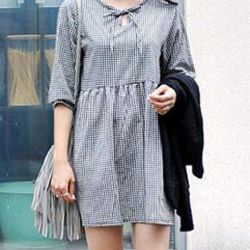 College Style Loose-fitting Checkered Print Retro Women Dress