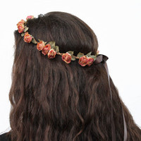 Vintage Coral Peach Rose Crown - Mini Rose Headband, Peach, Coral, Flower Crown, Rose Circlet, Reign Headband, Bridal Flower Crown, Festival