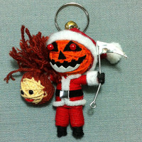 Santa Death Ghost Pumpkin Nightmare Christmas Goth Creepy Halloween Voodoo String Doll Funny Keyring Keychain Key Ring Key Chain Bag Car