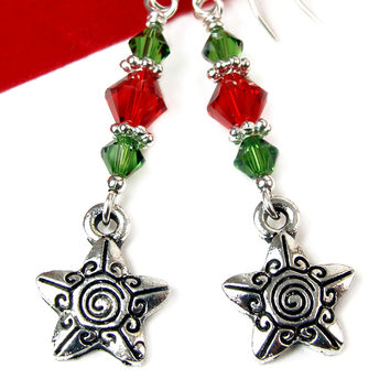 Star Christmas Earrings Red Green Crystals Spirals Dangles Handmade