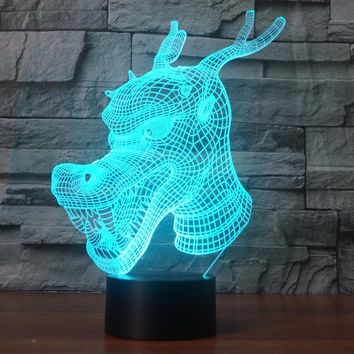 3D Illusion Night Light  LED Light 7 Color with Touch Switch USB Cable Nice Gift Home Office Decorations, Chinese Dragon