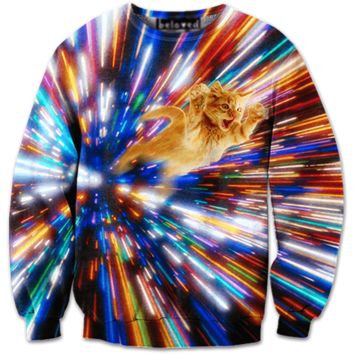Psychedelic Vortex Kitty Tabby Cat Graphic Print Pullover Sweatshirt Sweater