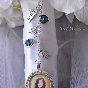 Bouquet Charm - Bouquet Photo Charm - Something Blue - Bridal Accessories - Bridal Bouquet Photo Charm - Bridal Gift - Bouquet Picture Charm