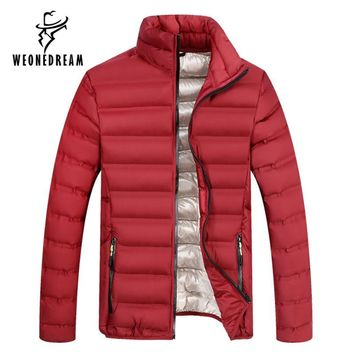 Winter Coats Men Casual Cotton Down Jackets Stand Collar Coats Outdoors Warm Thicken Outerwear Male Clothes Overcoat Parka